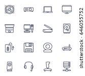 Set Of 16 Computer Outline...
