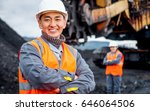 coal mine workers in an open pit | Shutterstock . vector #646064506