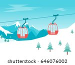 cartoon car cabins cableway in... | Shutterstock .eps vector #646076002