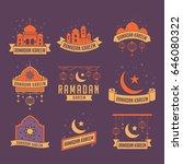 ramadan kareem badge collection.... | Shutterstock .eps vector #646080322