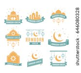 ramadan kareem badge collection.... | Shutterstock .eps vector #646080328