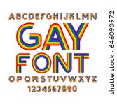 gay font. rainbow letters. lgbt ... | Shutterstock .eps vector #646090972