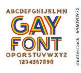 Gay Font. Rainbow Letters. Lgb...