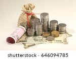 currency notes and coins ...   Shutterstock . vector #646094785