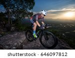 men cycling bike on the... | Shutterstock . vector #646097812