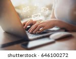 closeup woman hand using laptop ... | Shutterstock . vector #646100272
