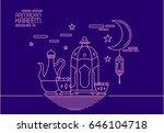 eid al fitr background in mono... | Shutterstock .eps vector #646104718