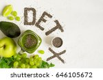 word detox is made from chia... | Shutterstock . vector #646105672
