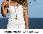 a young  bohemian woman wearing ... | Shutterstock . vector #646106662