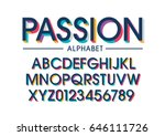 Vector of modern stylized colorful font and alphabet | Shutterstock vector #646111726