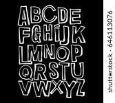 alphabet poster  dry brush ink... | Shutterstock .eps vector #646113076