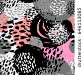 seamless brushpen doodle... | Shutterstock .eps vector #646113085