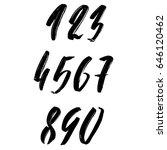 set of calligraphic ink numbers.... | Shutterstock .eps vector #646120462