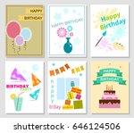 set of six birthday cards.... | Shutterstock .eps vector #646124506