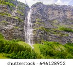 mountain waterfall near murren  ... | Shutterstock . vector #646128952