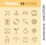 Travel, vacation, trip outline icons: airplane, luggage, open-air restaurant, hotel room key. Vector thin line symbol and sign set. Isolated infographic elements for web, presentation, social network.
