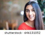 portrait of smiling beautiful... | Shutterstock . vector #646131052