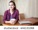 joyful female student enjoying... | Shutterstock . vector #646131088