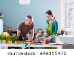 dad  mom and their little... | Shutterstock . vector #646155472