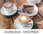 two cups of hot cappuccino... | Shutterstock . vector #646155826