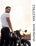sporty biker handsome rider man ... | Shutterstock . vector #646157812