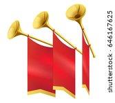 three musical golden trumpet...   Shutterstock .eps vector #646167625