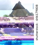 glitch image of a tropical house | Shutterstock . vector #646179808