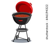 round barbecue grill with hot... | Shutterstock .eps vector #646194322