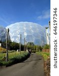 Small photo of Bodelva, Cornwall, UK - April 4 2017: Exterior of the biomes at the Eden Project Environmental exhibition in Cornwall, England