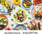 greek food background. meze ... | Shutterstock . vector #646209796