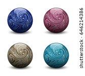 marble balls  jasper  rhodonite ... | Shutterstock .eps vector #646214386
