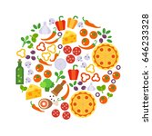 round design element with pizza ...   Shutterstock .eps vector #646233328