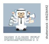 arab businessman meditate and... | Shutterstock . vector #646236442