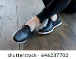 mans legs wearing jeans and... | Shutterstock . vector #646237702