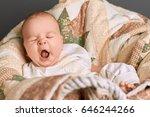 Caucasian Baby Yawning. Small...