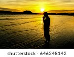 silhouette of young man... | Shutterstock . vector #646248142