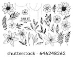Stock vector vector illustrations floral set flowers leaves and branches hand drawn design elements in 646248262