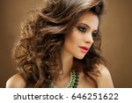 beautiful girl with long wavy... | Shutterstock . vector #646251622