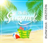 sun  sparkling ocean and palms. ... | Shutterstock . vector #646255246
