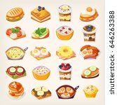 set of colorful meals and... | Shutterstock .eps vector #646263388