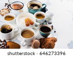 variety of coffee in ceramic... | Shutterstock . vector #646273396
