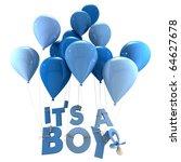 3d rendering of blue balloons... | Shutterstock . vector #64627678
