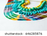 beaded necklace from colorful... | Shutterstock . vector #646285876
