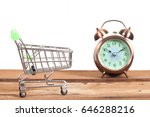 shopping cart and old clock ... | Shutterstock . vector #646288216