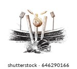 cricket championship with ball... | Shutterstock .eps vector #646290166