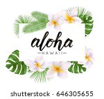 aloha word on palm leaves ... | Shutterstock .eps vector #646305655