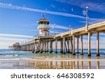 the huntington beach pier in... | Shutterstock . vector #646308592