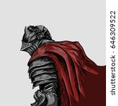 medieval knight in a red cloak... | Shutterstock .eps vector #646309522