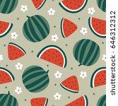 watermelon seamless pattern... | Shutterstock .eps vector #646312312