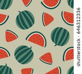 watermelon seamless pattern.... | Shutterstock .eps vector #646312336